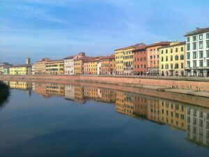 Pisa the banks of the Arno river